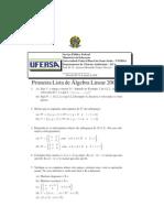 Exercicio Algebra Linear