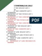 Exam Timetable as 2017