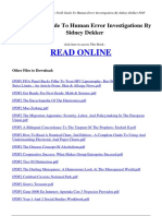 The Field Guide to Human Error Investigations by Sidney Dekker