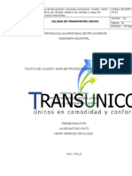 Trabajo Calidad Politica, Mision, Vision, Objetivos y Mapa de Proceso Corregidos
