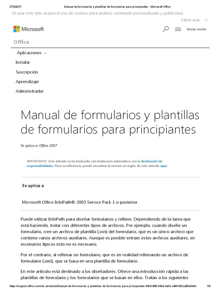 Manual de Formularios y Plantillas de Formularios Para Principiantes ...