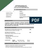 Resume- Mohd. Anwar Latif