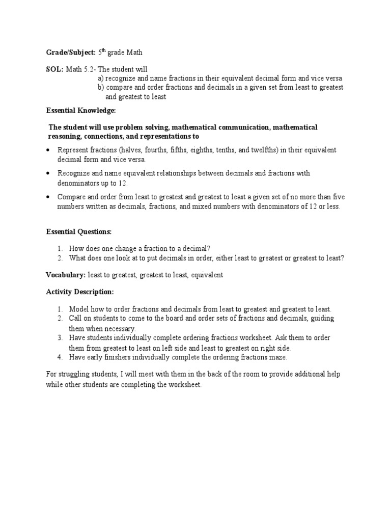 fractions decimals lesson plan  student teaching
