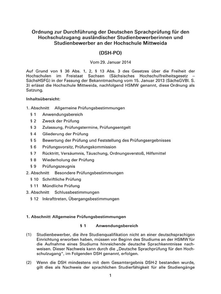 pruefungsordnung dsh hochschule mittweida 2014 1 - Dsh Prfung Muster