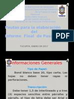 Pautas Para La Elaboracion Informe Pasantías 1-2017
