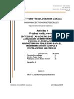 Síntesis de Las Generalidades de Las Actividades de Mantenimiento, Su Función, Clasificación y Administración Requeridas Para El Mantenimiento de Equipos e Instalaciones Eléctricas