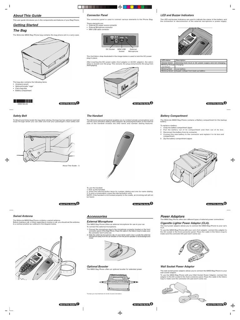 Motorola All M-Series Phones M800 Bag Phone Owner's Manual