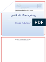 Certification for Class Adviser