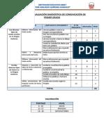 Matriz de La Evaluación Diagnóstica de Comunicación de Primer Grado-quiñones