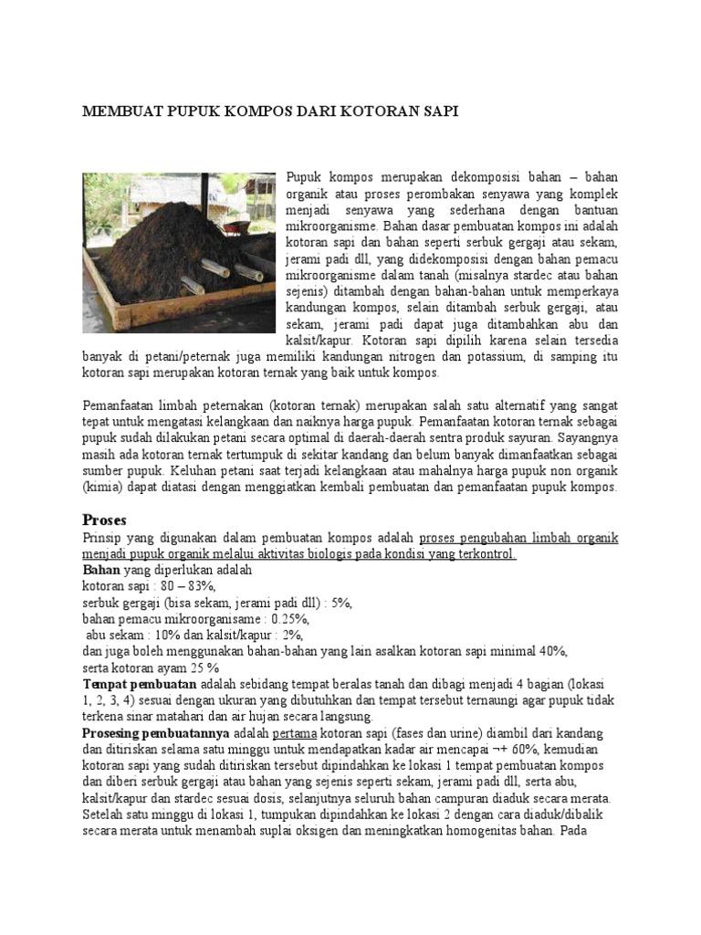 Membuat Pupuk Kompos Dari Kotoran Sapi Organik 1536899051v1