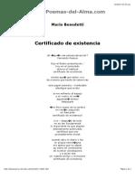 Certificado de Existencia de Mario Benedetti