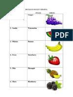 Frutas en Inglés y Español