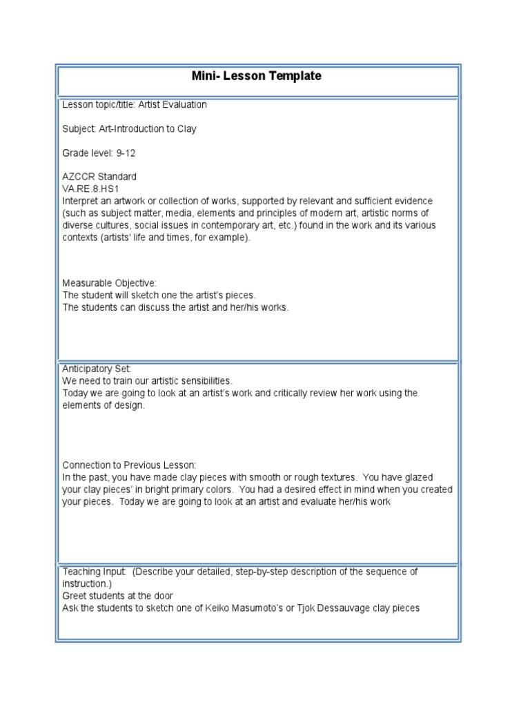 mini lesson template 1 second semester