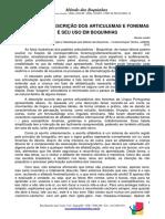 Tabela 2 - A Descrição Dos Articulemas e Fonemas e Seu Uso Em Boquinhas