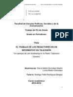 El Trabajo de Los Redactores en Un Informativo de Television. ¿Un Ejemplo de Job Shadowing en La Radio Television Canaria.