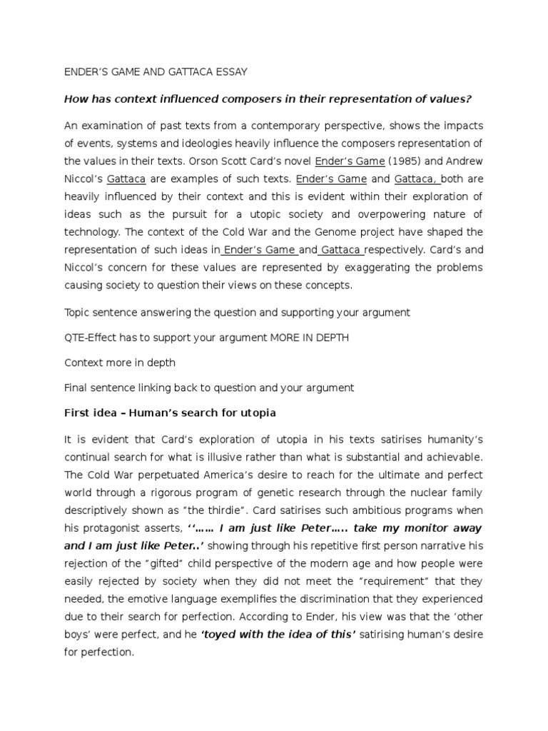 Gattaca Essay New | Utopia | Science