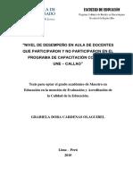 2010_Cárdenas_Nivel de Desempeño en Aula de Docentes Que Participaron y No Participaron en El Programa de Capacitación Convenio UNE-Callao