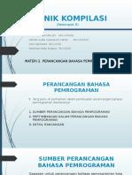 Teknik Kompilasi Materi 2.Perancangan bahasa pemrograman