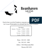 Beanhaven Menu (July 2010)