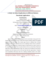 A Study on Ethical Implications in Different Business Functional Applications