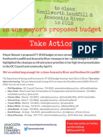 Take Action in FY 2018 to support Anacostia River and Kenilworth Landfill cleanup