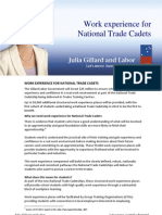 Work Experience for National Trade Cadets - Fact Sheet