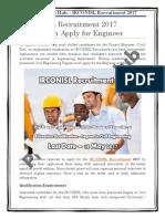 IRCONISL Recruitment 2017 Notification Apply for Engineer