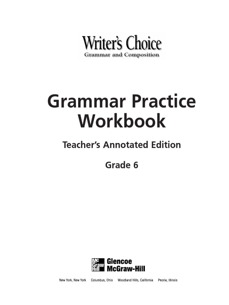 worksheet The Mcgraw Hill Companies Worksheet Answers glencoe grammar practice workbook w answers adverb object grammar