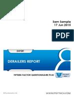 15FQplus Derailer Report (GeneSys Online)