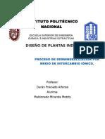 Proceso de Desmineralización Por Intercambio Iónico.