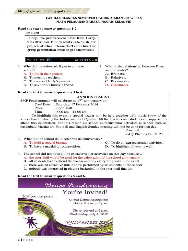 Latihan Soal Uas Bahasa Inggris Kelas 8 Semester 1 Kunci Transport