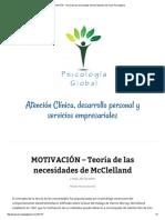 MOTIVACIÓN – Teoría de Las Necesidades de McClelland _ Servicios Psicológicos