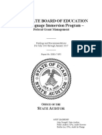 State Audit of Utah State Board of Education's Dual Language Immersion Program