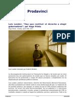 Luis Lander Hay Que Restituir El Derecho a Elegir Gobernadores Por Hugo Prieto