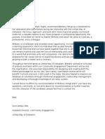 b  mingo recommendation letter