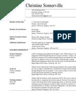 christine somerville  teaching resume