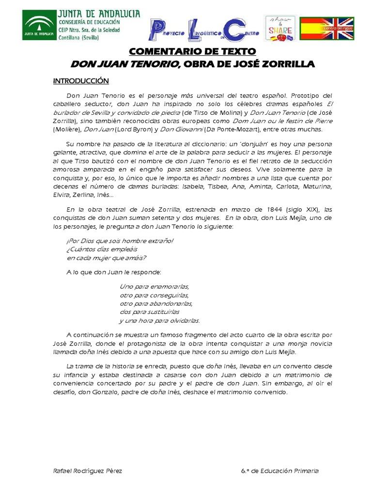 Comentario De Texto Don Juan Tenorio De Jose Zorrilla