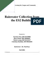Greening the Campus - Evironmental Studies Building Rainwater Harvesting System - University of Waterloo