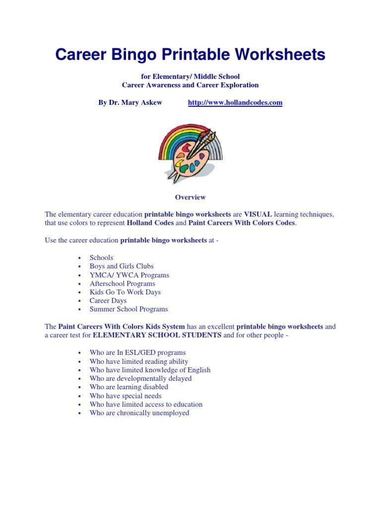 Career Bingo Printable Worksheets Professional Certification