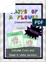 Parts of a Flower Crossword Puzzle Worksheet Freebie