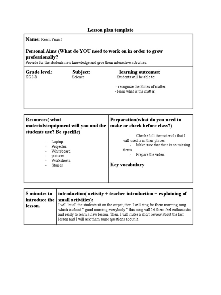 Workbooks willy the wimp worksheets : lesson plan 3 reflection   Lesson Plan   Quality Of Life