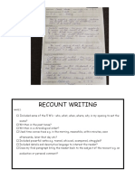recount writing rubric