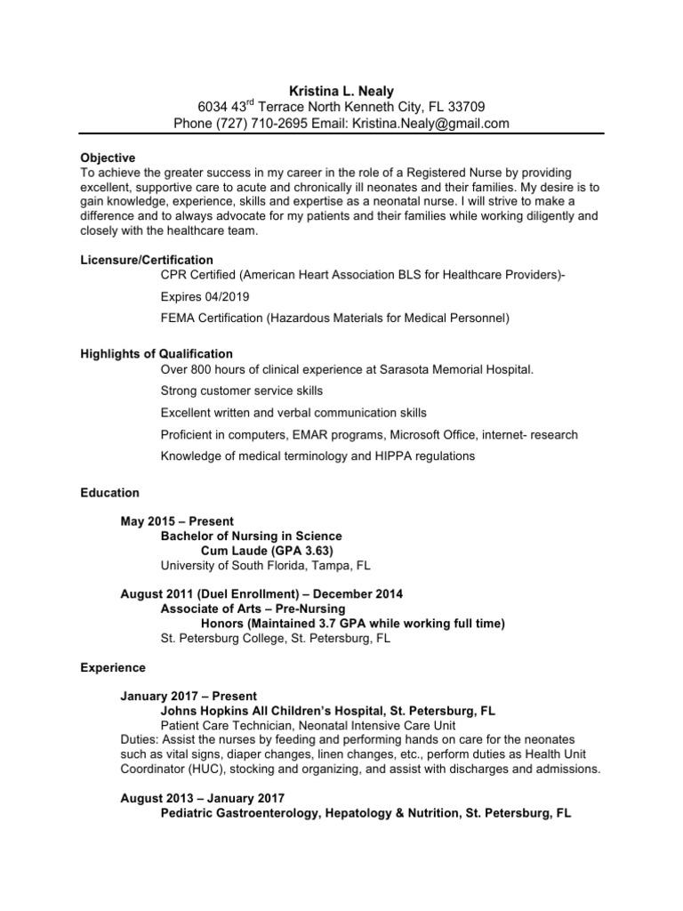kristina nealy nursing resume | Nursing | Patient