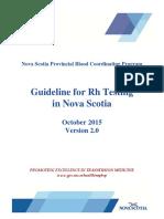 Guideline for Rh Testing in Nova Scotia