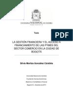 Tesis La Gestión Financiera y El Acceso a Financiamiento de Las Pymes Del Sector Comercio en La Ciudad de Bogotá