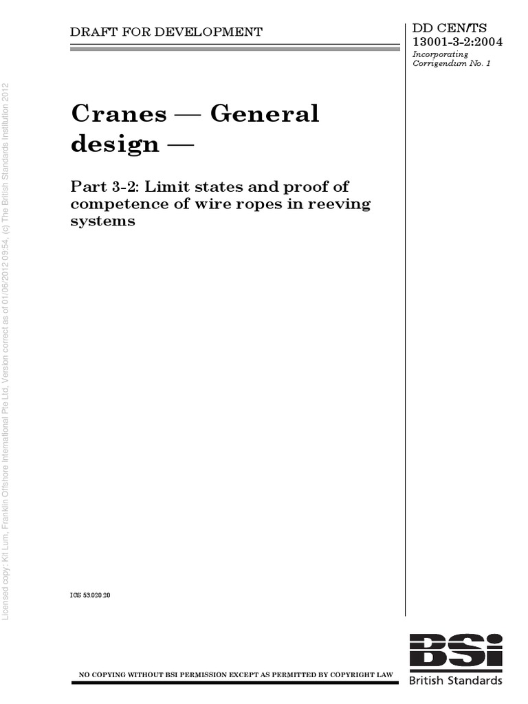 BS DD CENTS 13001 3 2 Cranes General Design Limit States and Proof ...