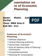 Features of Economic Planning
