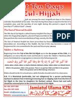 First Ten Days of Zul Hijjah 2012