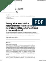 Los Quehaceres de Los Fotohistoriadores Mexicanos_¿Eurocentristas, Americanistas o Nacionalistas