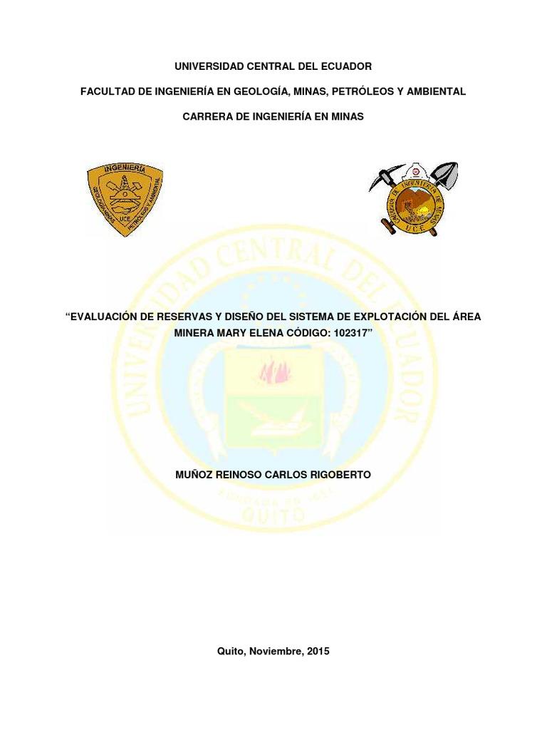 evaluacion de reservas y diseño de explotacion de cal en el area ...